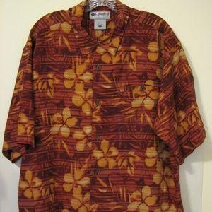 Columbia Large Rust Camp Hawaiian Pocket Shirt